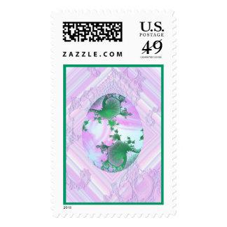 Rosa y huevo pintado verde sello