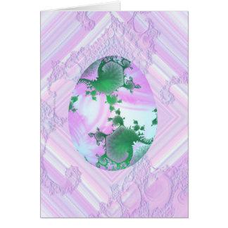 Rosa y huevo pintado verde tarjeta de felicitación