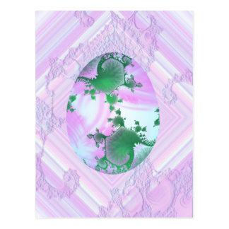 Rosa y huevo pintado verde tarjetas postales