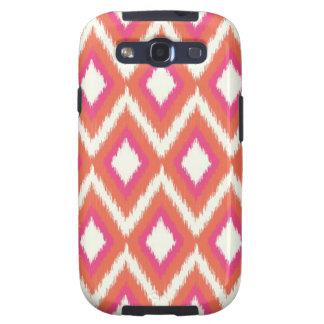 Rosa y Ikat tribal coralino Chevron Samsung Galaxy S3 Carcasas