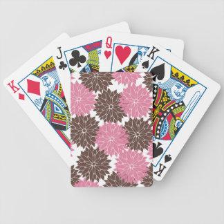 Rosa y impresión floral bonitos de los flores de l baraja de cartas