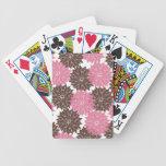 Rosa y impresión floral bonitos de los flores de l barajas de cartas