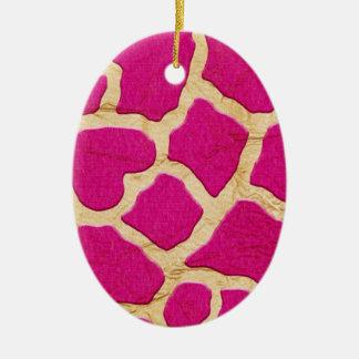 Rosa y jirafa del oro adorno navideño ovalado de cerámica