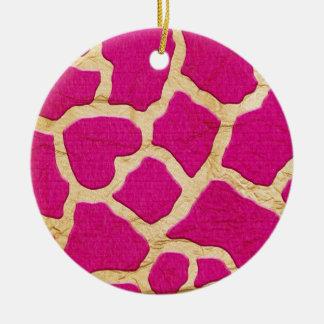 Rosa y jirafa del oro adorno navideño redondo de cerámica