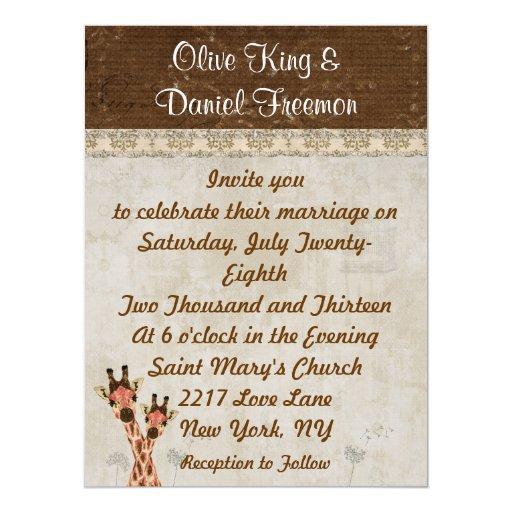 Rosa y jirafas de cobre que casan la invitación