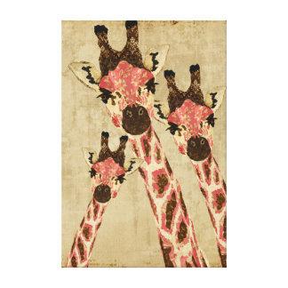 Rosa y lona de cobre del blanco de las jirafas impresión en lona estirada