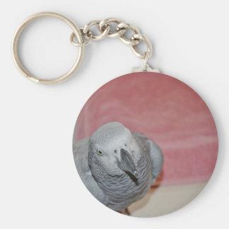 Rosa y loro gris del gris africano llavero redondo tipo pin