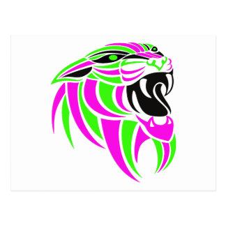 Rosa y Lt Green Tiger Head Postal