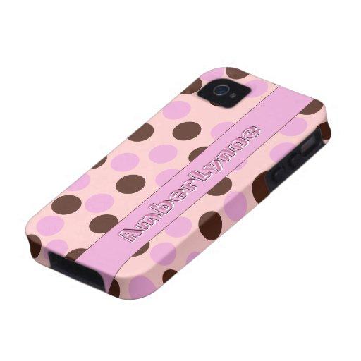 Rosa y lunares de Brown con el texto Vibe iPhone 4 Carcasa