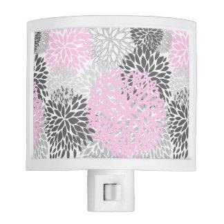 Rosa y luz floral gris de la noche lámpara de noche