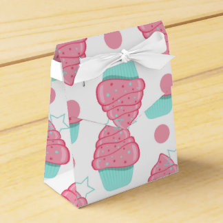 Rosa y magdalenas de la turquesa, modelo de la caja para regalos de fiestas