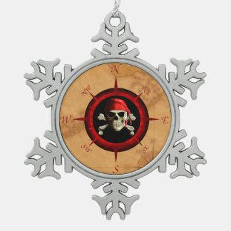 Rosa y mapa del compás del pirata adornos