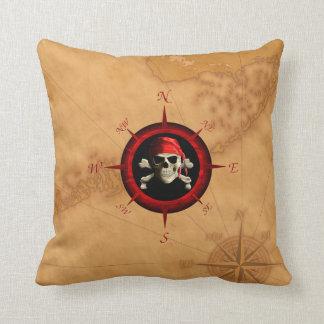 Rosa y mapa del compás del pirata cojin
