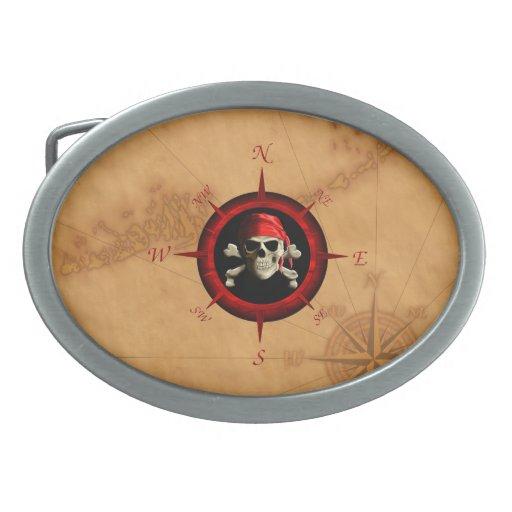 Rosa y mapa del compás del pirata hebillas cinturón ovales