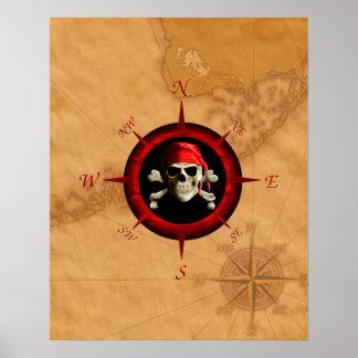 Rosa y mapa del compás del pirata poster