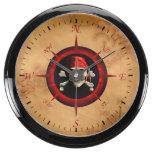 Rosa y mapa del compás del pirata relojes acuario