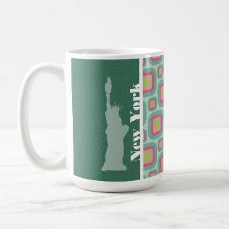 Rosa y menta retros, Nueva York; Estatua de la lib Taza