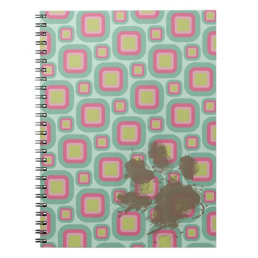 Rosa y menta retros; Pawprint divertido Cuadernos