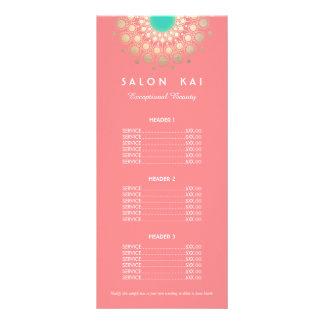 Rosa y menú de la lista de precios del adorno del tarjeta publicitaria