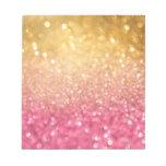 rosa y mirada del brillo del oro blocs de notas