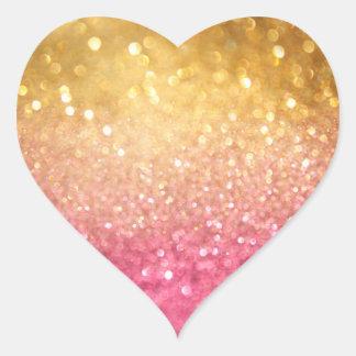 rosa y mirada del brillo del oro pegatina en forma de corazón
