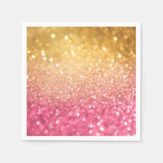 rosa y mirada del brillo del oro servilletas de papel