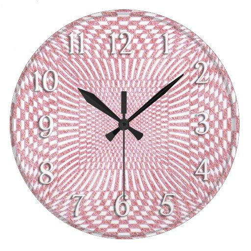 Rosa y modelo a cuadros torcido blanco reloj redondo grande