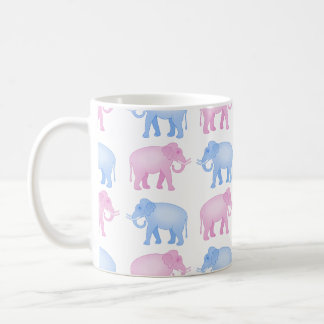 Rosa y modelo azul del elefante indio taza