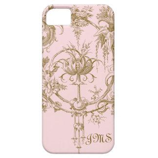 Rosa y modelo clásicos de Brown Toile iPhone 5 Case-Mate Coberturas