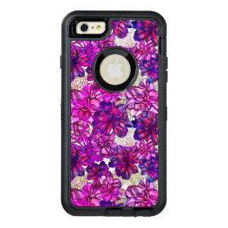 Rosa y modelo de flores abstracto púrpura funda OtterBox defender para iPhone 6 plus
