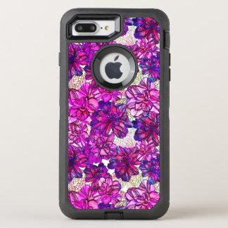 Rosa y modelo de flores abstracto púrpura funda OtterBox defender para iPhone 7 plus