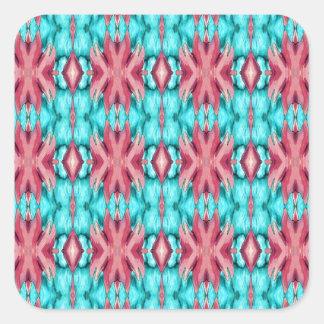 Rosa y modelo de las estrellas de mar de la pegatinas cuadradases