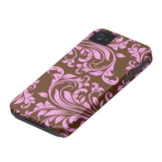 Rosa y modelo del damasco de Chocholate Brown Carcasa Para iPhone 4 De Case-Mate