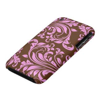 Rosa y modelo del damasco de Chocholate Brown Funda Para iPhone 3 De Case-Mate