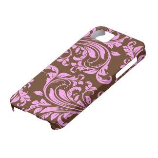 Rosa y modelo del damasco de Chocholate Brown Funda Para iPhone SE/5/5s