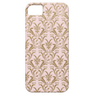 Rosa y modelo del damasco del oro funda para iPhone 5 barely there