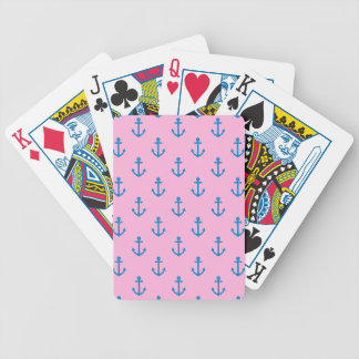 Rosa y modelo náutico azul del ancla baraja de cartas