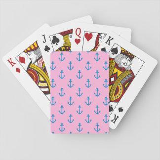 Rosa y modelo náutico azul del ancla cartas de póquer