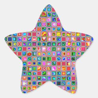 Rosa y modelo texturizado multicolor de las tejas pegatinas forma de estrellaes