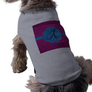 Rosa y monograma azul del brillo camisas de perritos