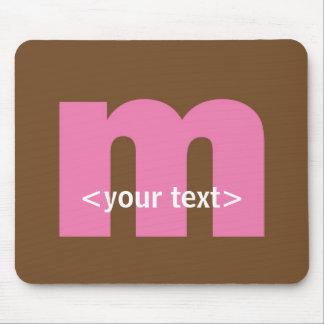 Rosa y monograma de Brown - letra M Tapete De Raton
