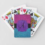 Rosa y monograma del brillo de la turquesa cartas de juego