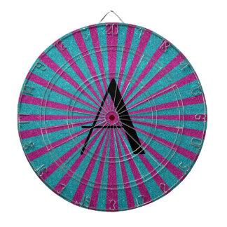 Rosa y monograma del brillo de la turquesa tabla dardos