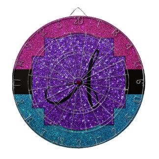 Rosa y monograma del brillo de la turquesa tablero de dardos