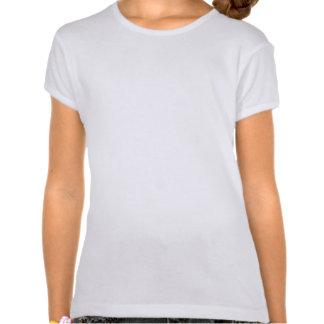 Rosa y monograma del damasco de Brown Camiseta