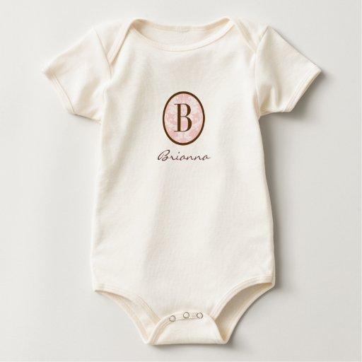 Rosa y monograma elegantes B de Brown Mamelucos De Bebé