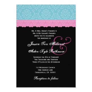 Rosa y monograma P517 del boda del cordón de la Invitación 12,7 X 17,8 Cm