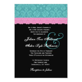 Rosa y monograma P524 del boda del cordón del Invitación 12,7 X 17,8 Cm