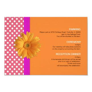 """Rosa y naranja con la tarjeta del recinto de la invitación 3.5"""" x 5"""""""