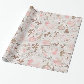 Rosa y navidad del bosque de Brown Papel De Regalo